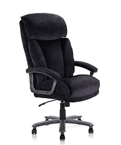 CLATINA Ergonomic Big and Tall Executive Office Chair with Upholstered Swivel 400lbs High Capacity Adjustable Height Thick Padding Headrest and Armrest for Home Office Black