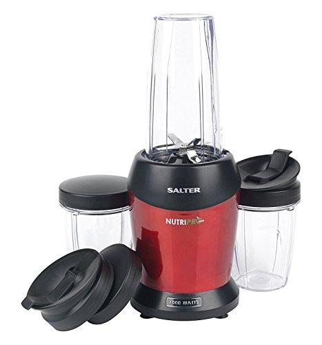 Salter Nutri Pro 1000 - Licuadora (1 L, 25000 RPM, Batidora de vaso, Negro, Rojo, Transparente, De plástico, Tritan)