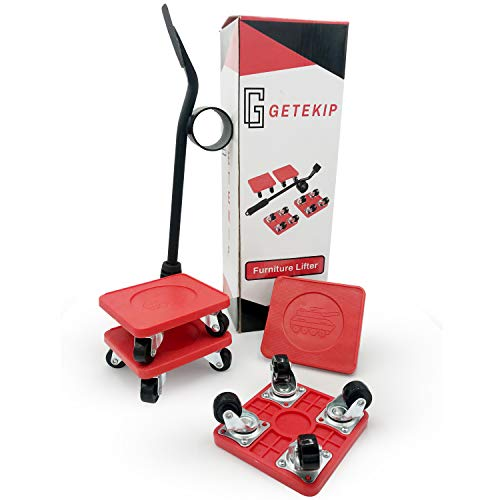 GETEKIP - Kit de transporte de muebles pesados - 4 ruedas giratorias de 360° - 1 palanca - 800 kg máx. - Kit de ruedas para mover muebles - Sofá/Muebles - Elevadores de muebles - Rojo