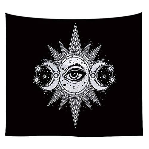mmzki Psychedelic Tapisserie Wohnheim Dekoration Tapisserie Wandbehang Gun Wolf Moon böhmischen gedruckt Polyester Wand Teppich Pad 37 150x100CM