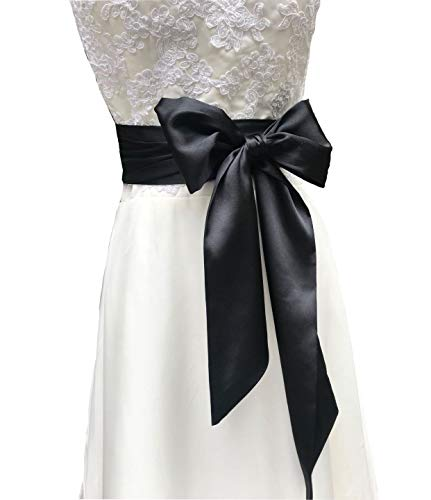Special Occasion Dress Sash Wedding Sash Bridal Belts 4'' Wide Double Side (Black)