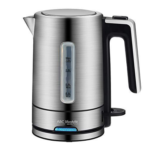 Wasserkocher Edelstahl 1 L- Edelstahlwasserkessel mit automatischer Abschaltung, ABC Lifestyle Wasser Schnellkochkessel | Kalkfilter | Strix Steuerung | umwickeltes Kabel | BPA-Frei