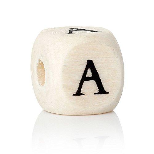 10 pcs de las letras de cuentas de madera, A-Z para seleccionar, es 10 x 10 mm, orificio de 4 mm