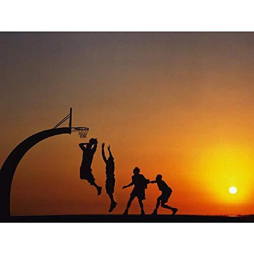 LIZELUO Puzzle 1000 Piezas Gente Jugando Baloncesto Al Atardecer Creativo Personalidad El Juego Adulto Niño Rompecabezas Juguete