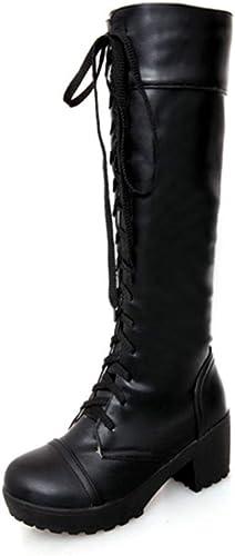ZHRUI Las mujeres con Cordones hasta la Rodilla botas de otoño Invierno de Cuero Suave Moda Plaza talón zapatos Femeninos (Color   negro, tamaño   6.5=40 EU)