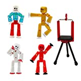 Zing Stikbot 4 Pack with Tripod, Set of 4 Stikbot Collectable Action Figures and Mobile Phone Tripod, Create Stop Motion Animation