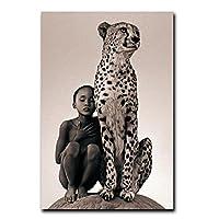 キャンバス絵画プリント子供チーターキャンバス壁アートポスターとプリント自然動物リビングルームモダンな家の装飾(70x120cm)フレームレス
