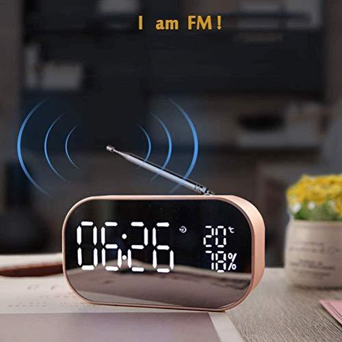 Queta Réveil numérique Miroir avec Haut-Parleur Bluetooth, réveil Lumineux avec écran à LED et réveil pour Bureaux à Domicile