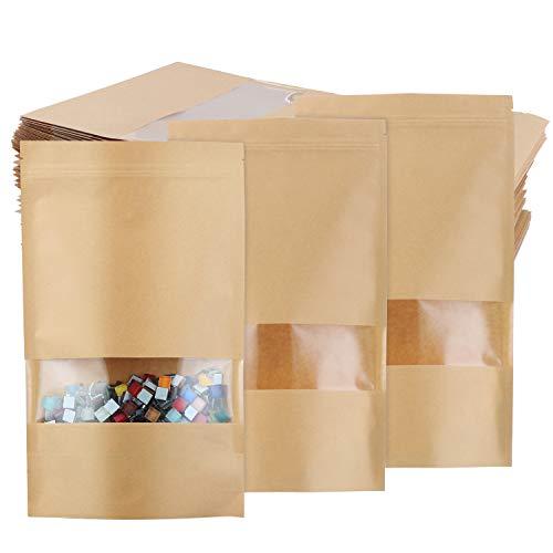 TsunNee 50 Stück Kraftpapierbeutel zum Aufstellen von Lebensmitteln, aus Kraftpapier, wiederverwendbare Druckverschlussbeutel, braunes Papier mit transparentem Fenster, 18 x 30 cm