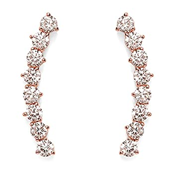 PAVOI 14K Rose Gold Plated  Hearts & Arrows  Simulated Diamond Ear Crawler - Cuff Earrings Hypoallergenic Stud Ear Climber Jackets