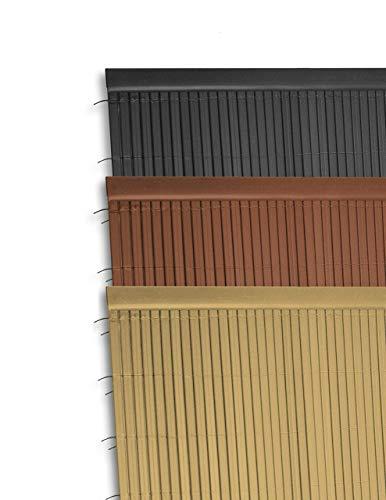 Ribelli® PVC Sichtschutzmatte mit Steg, extra stabil Sichtschutzzaun Sichtschutz Zaun Balkon Windschutz (200 cm (2 x 100 cm), Abschlussleiste Bambus)