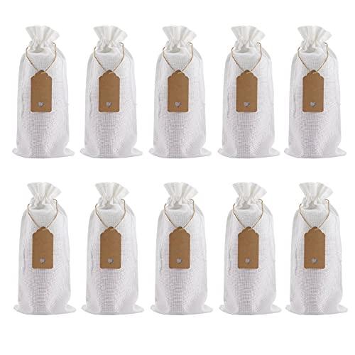Andifany Bolsas de Arpillera para Vino Bolsas de Regalo para Vino con Cordones, Fundas para Botellas de Vino Reutilizables Individuales con Cuerdas y Etiquetas, Color Blanco