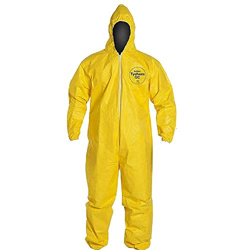 DuPont Tychem 2000 Standard Fit Hood Stormflap Elastic Wrists and Ankles Storm Flap with Adhesive Closure Bound Seams Coverall Yellow, 2XL, Pack of 1