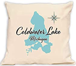 Davern Lake in Ontario, CN (1666 LS) - Pillow 16 x 16 in - Nautical Chart and Topographic Depth map.