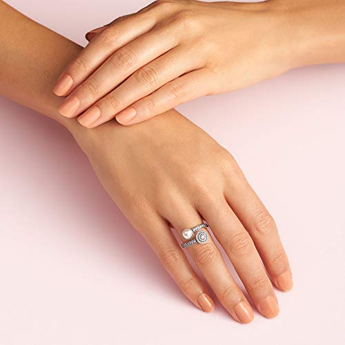PANDORA Luminous Glow Ring, White Crystal Pearl and Clear CZ
