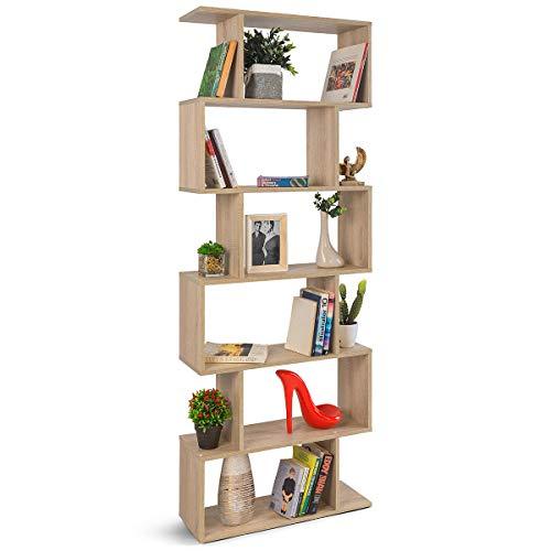 COMIFORT Estantería - Librería de Estilo Nórdico, Moderna y Minimalista, con 7 Baldas de Gran Capacidad, Robusta y Resistente, de Color Roble Sonoma