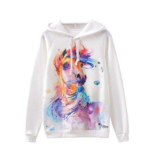 Lenfesh Animal Imprimir Creativa Sudadera Mujer Capucha Pintada Estilo De Hip Hop Camisetas Blanco (S, Caballo)