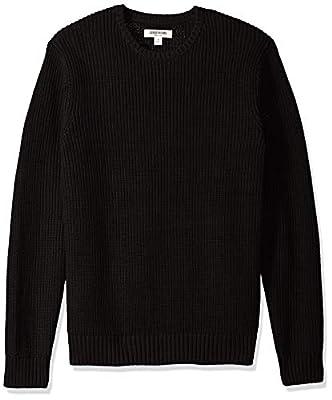 Amazon Brand - Goodthreads Men's Soft Cotton Rib Stitch Crewneck Sweater, Solid Black, XX-Large from Goodthreads