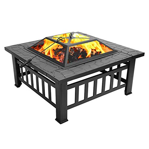 SHFAMHS Multifunctional Fire Pit Table, Square Metal Firepit Stove Backyard Patio Garden Fireplace for Camping, Outdoor Heating, Bonfire and Picnic