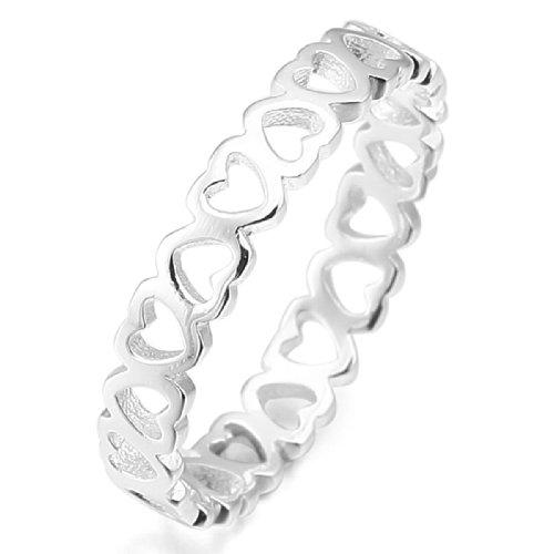 MunkiMix 925 Sterling Silber Ring Silber Ton Herz Hochzeit Lieben Größe 54 (17.2) Damen