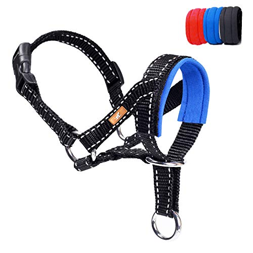 wintchuk Dog Head Collar, Head Collar with Reflective Strap to Stop Pulling for Small Medium and Large Dogs, Adjustable (M, Blue)