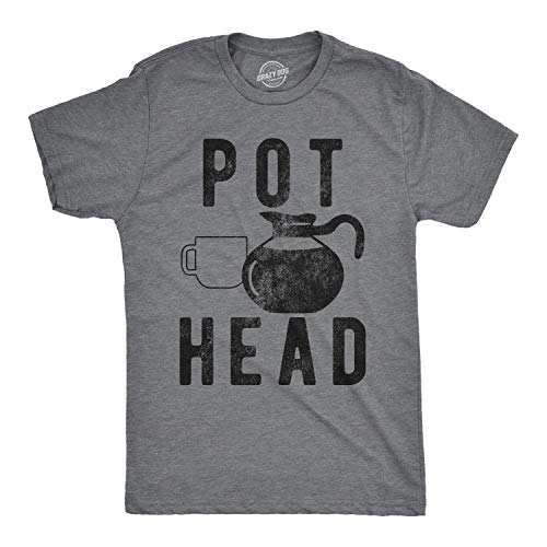 Mens Pot Head T Shirt Funny Coffee Tee for Guys Caffeine Addicted Sarcastic Cool (Dark Heather Grey) - XL