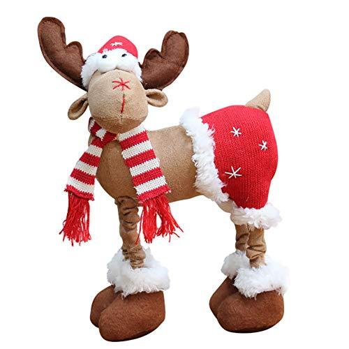 WISREMT Regalos de Navidad Muñeca de reno de dibujos animados con bufanda y pantalones cortos Ventana de Navidad...