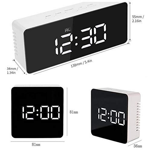 Aiohdg Digitale Alarm Klok, Spiegel LED Alarm Klokken Tijd Temperatuur Instelbare Helderheid Multifunctionele Bureau Klokken voor Slaapkamer, Kantoor