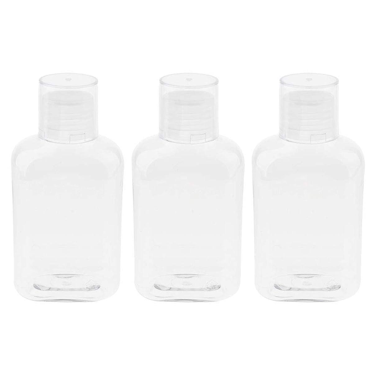 決めますまっすぐテクスチャーgazechimp 空のボトル 詰替え容器 収納ボトル 収納瓶 液体ボトル ローションボトル 3個入 - クリアキャップ
