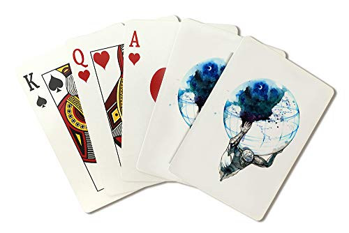 Abstract Ink Art of Atlas Holding the Earth 9023345 (Playing Card Deck - 52 Card Poker Size with Jokers)