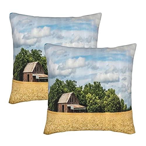 KENADVI Throw Pillow Covers Foto Pastoral de la cabaña Frente a los árboles en un Campo de Trigo Funda de Almohada Decorativa de Campo Funda de cojín acogedora para sofá de casa 18x18 Juego de 2
