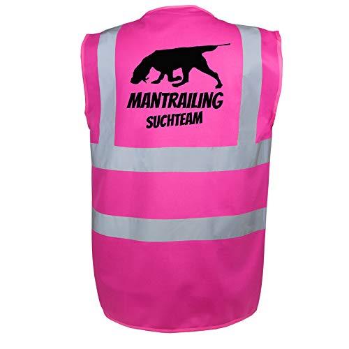 Mantrailing Warnweste Hundesport Sicherheitsweste Suchteam (Motiv 6) (S, Pink)