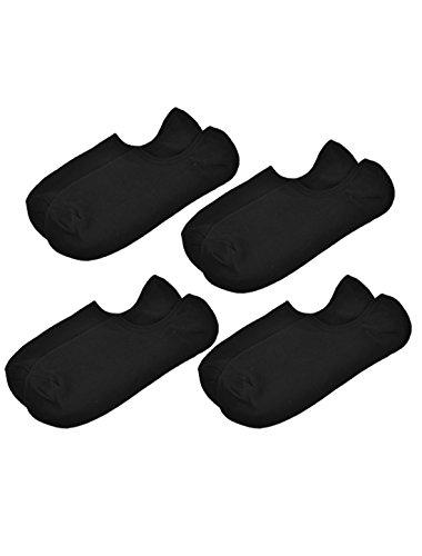 sourcingmap® Hommes Pure Motif Coupe Basse Court Chaussettes 4 Paires Noir - Noir, Femme, Taille Unique