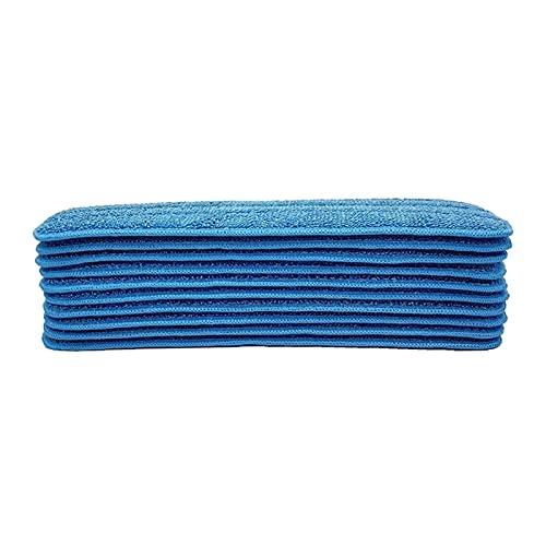 Demacia MUsen - Juego de 10 cabezales de repuesto de microfibra para mopa húmeda/seca, compatible con el sistema de cuidado del suelo Bona MS (color: azul)