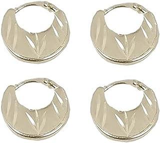 Utkarsh (2 Pair) Trending Silver Plated Fancy & Stylish Round Shaped Clip On Metal Punk Barbell Press Screw Pierced Nattiy...