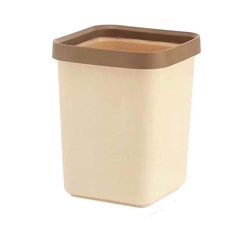 休憩する山岳朝食を食べるIUYWLごみ箱 家庭用の正方形のプラスチック製のゴミ箱は、キッチンのウェットとドライのゴミ分類バケット寝室の雑貨収納バケット12L青、茶色、白 IUYWLごみ箱 (Color : Brown)