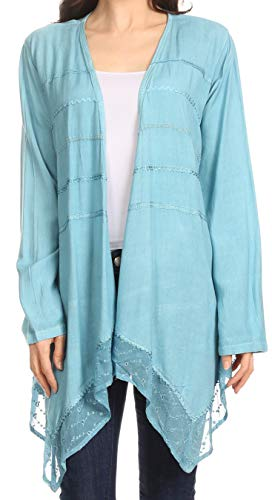 Sakkas 30232 - Isenia Cardigan Open Front Kimono Blusa de Encaje con Manga Larga Bordada Larga - Azul Cielo - OSP
