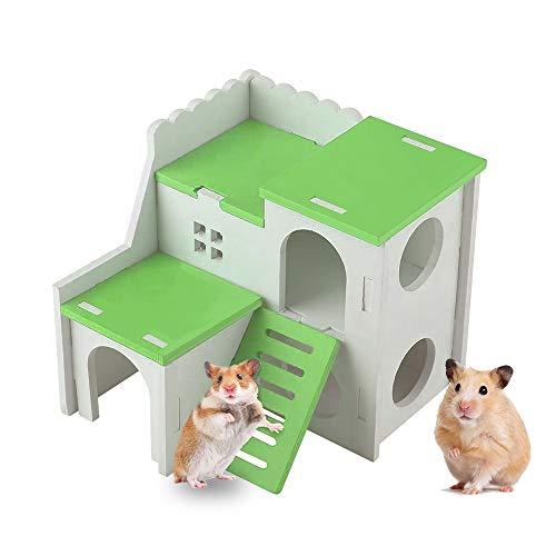 Andiker Hamster Haus, Kleintier Versteck Hamster Haus mit lustiger Kletterleiter Übungsspielzeug Luxus zweischichtige Hütte für Zwerghamster, Chinchilla, Ratte, Rennmaus, Maus (Grün)
