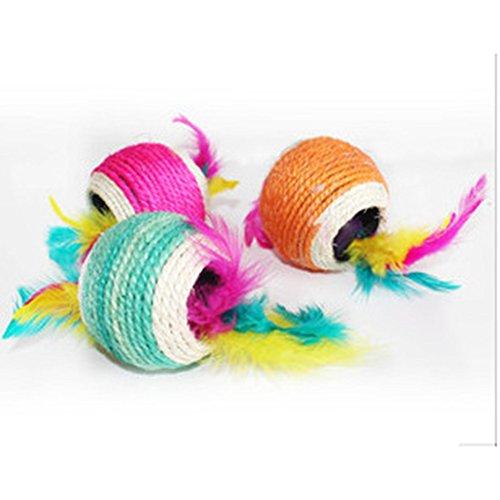 Healthy Clubs Haustier-Spielzeug, Sisalseil-Ball mit Loch, zum Spielen/Kratzen/Kauen, Spielzeug für Katze/Hund/Haustier
