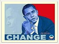 ポスター アームストロング Barack Obama change 額装品 ウッドベーシックフレーム