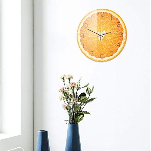 Asffdhley Reloj De Pared Decorativo Reloj De Pared Naranja Creativo Reloj De Pared Silencioso Reloj De Pared De Cuarzo para Decoraciones De Oficina En Casa Inicio