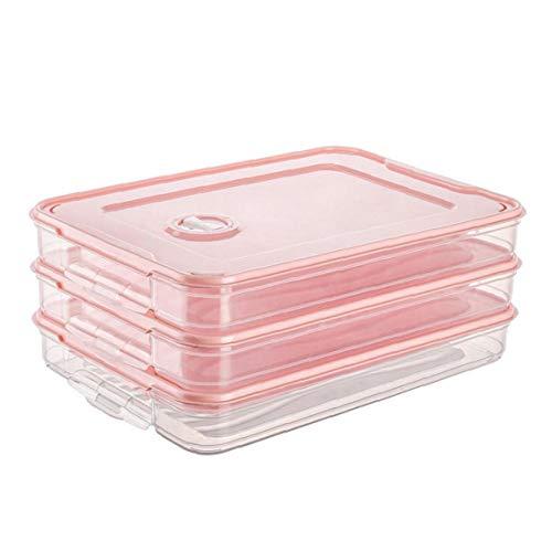 Odoukey Titular de la Nevera los Alimentos de Masa hervida Caja de Almacenamiento Caja de Alimentos Organizador Bandeja con una Sola Capa apilable con Tapa de plástico Rosa 3pcs