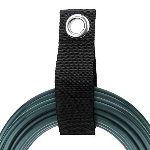 LuBanSir 9 Pack Extension Cord Holder, 10' - Medium Hook and Loop Heavy Duty Storage Strap for Cords, Rope, Hose, RV, Boat and Garage Organizers and Storage - Black