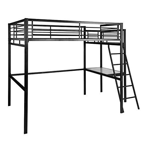 FURNISH 1 Lit Mezzanine Adulte en Noir métal laqué époxy avec sommier + Bureau + Rangement - 140x190cm Matelas Exclu