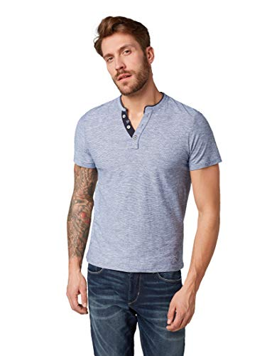 TOM TAILOR Herren Basic Baumwoll Henley T-Shirt, Blau (Estate Blue Yarndye 16052), Medium