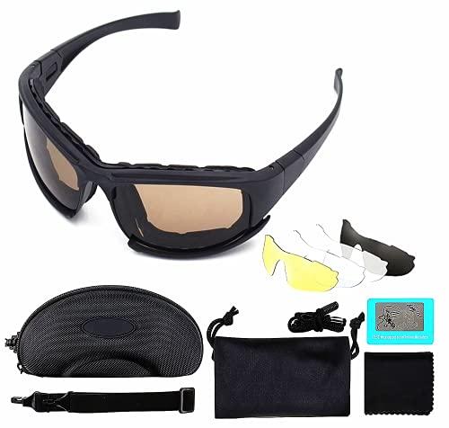 Dee Banna Polarisierte Sport Sonnenbrille Gaming Computerbrille, Anglerbrille mit 4 austauschbaren Anti-Blaulicht-Objektiv-Kits für Outdoor-Aktivitäten, Reiten, Motorradfahren, Skifahren