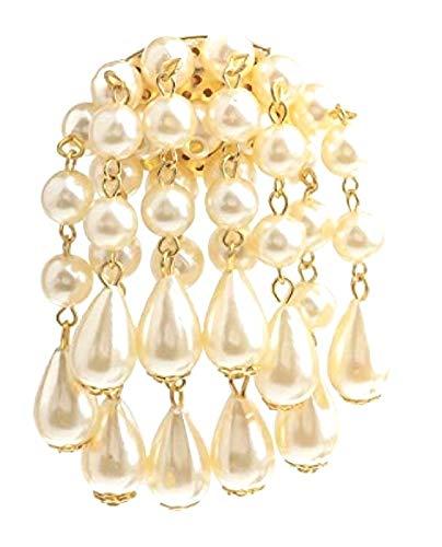 White Faux Pearl Teardrop Brooch Pin Droplet Badge Antique Vintage Fancy Dress Party Costume Jewellery Women Girls Ladies