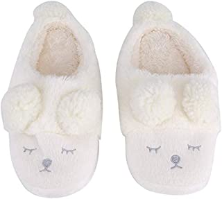Winter Warm Short Plush Indoor Slippers Cute Cartoon Sheep Lamb Soft Indoor Home Wear Slippers House Shoes Soft Sole Women Indoor Shoe Couples House Slipper(36-37 EU/ 6-6.5 US-White)