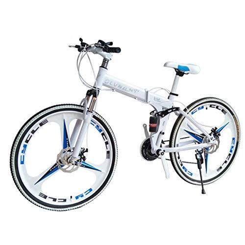 Dapang Mountain Bike 27 Speed Stahlrahmen 26 Zoll 3-Speichenräder Dual Suspension Faltrad Schwarzweiß,12,21speed