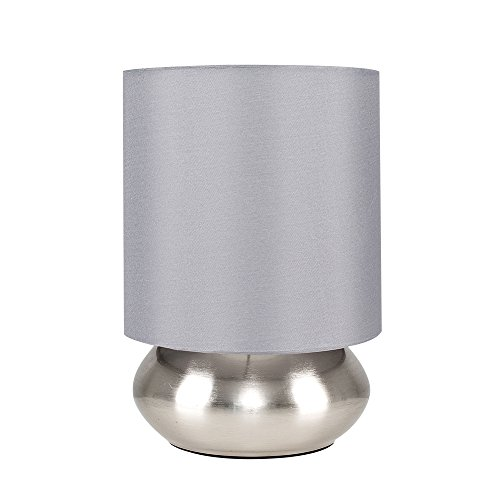 Pair of - Modern Brushed Chrome Bedside Touch Table Lamps with Grey Shades